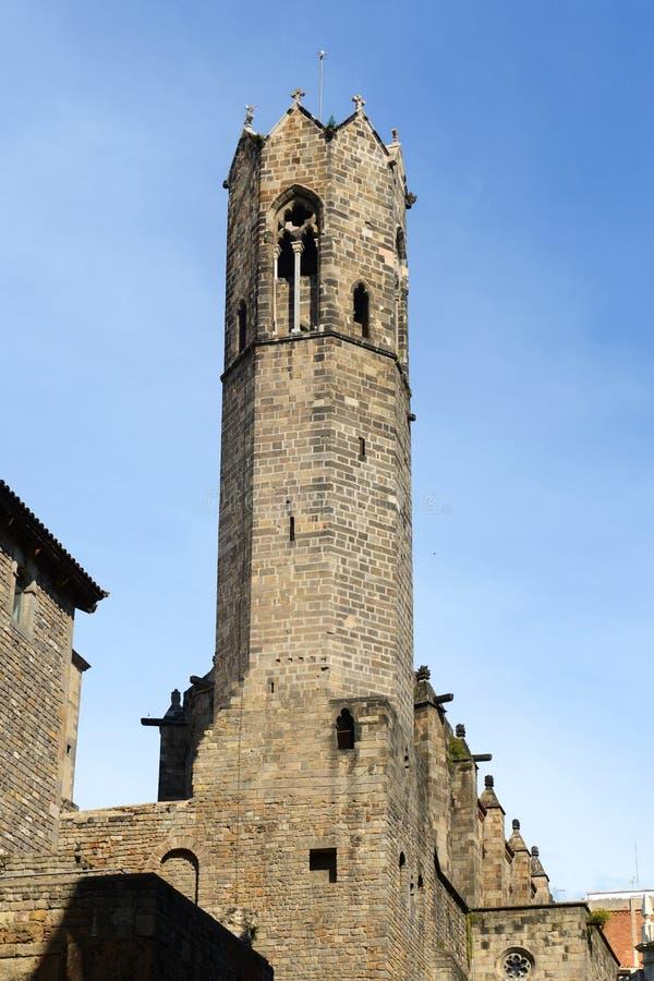 Torre Mirador del ReÃ, Barcelona gammal stad, Spanien royaltyfria foton
