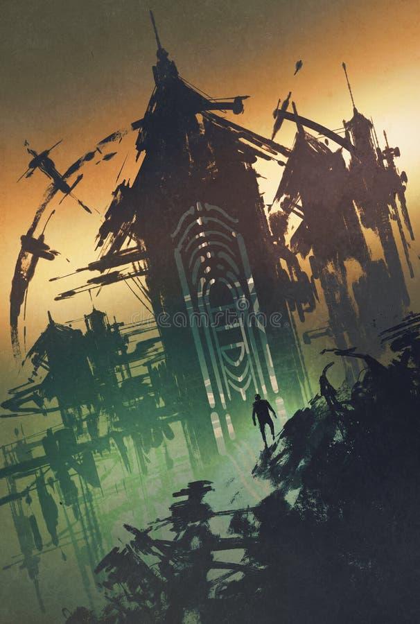 Torre misteriosa oscura en el crepúsculo libre illustration