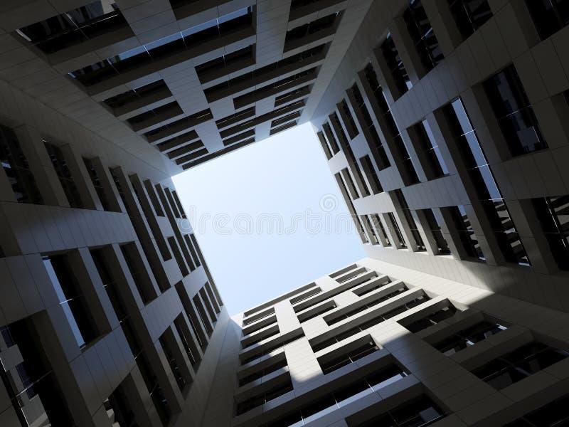 Torre moderna alta 3d do escritório do pátio interno escuro ilustração do vetor