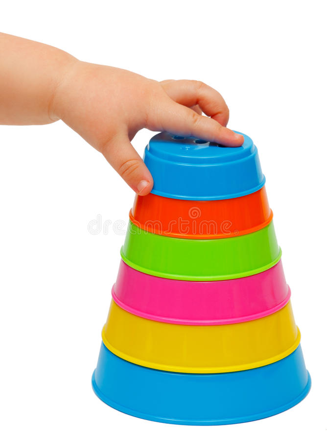 Torre Multicolora De Tazas Imagen de archivo libre de regalías