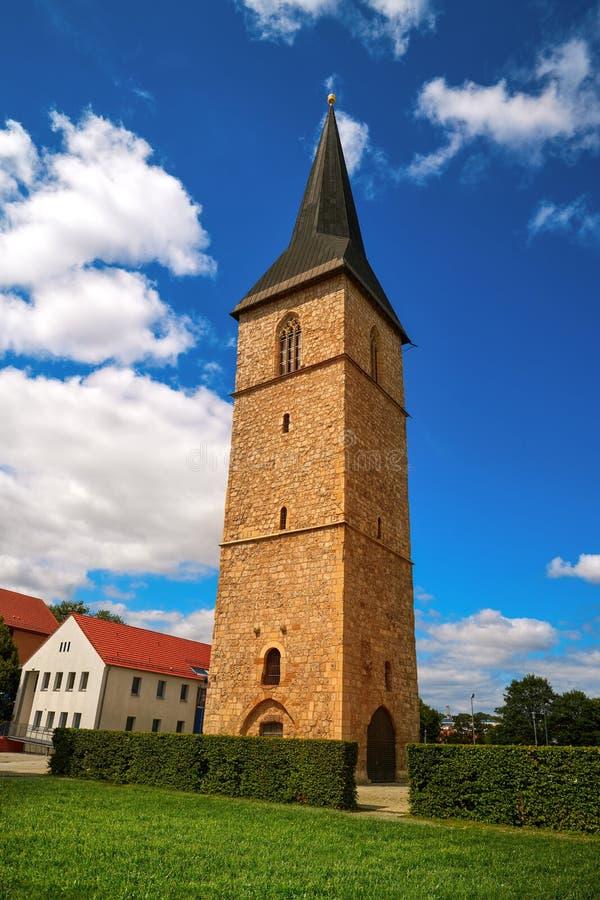 Torre Nordhausen Harz Alemania del St Petri Kirche foto de archivo