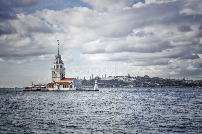 Torre nubile in Bosphorus, Costantinopoli in Turchia immagine stock