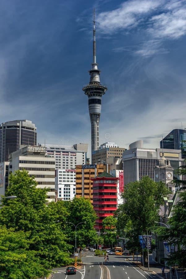 Torre Nuova Zelanda del cielo di Auckland fotografia stock