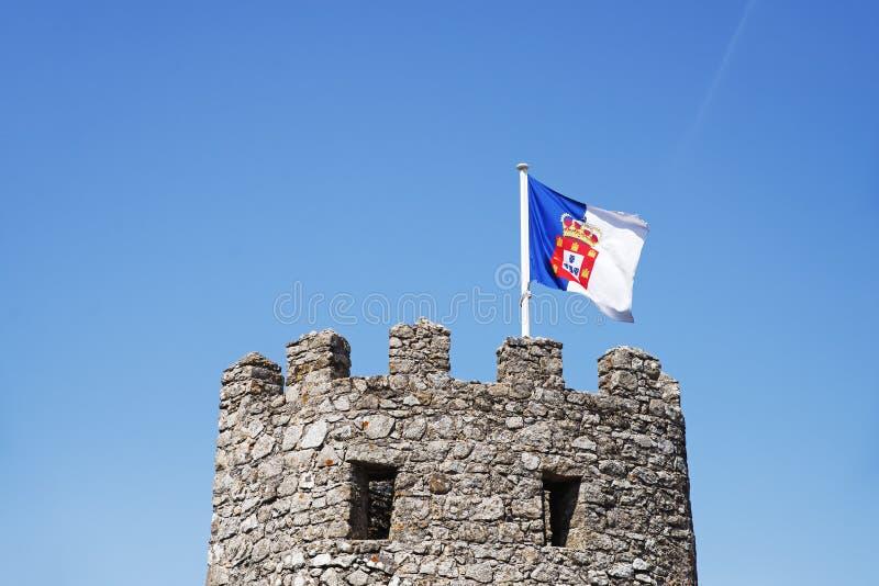 Torre ocidental da parede mouro do castelo foto de stock