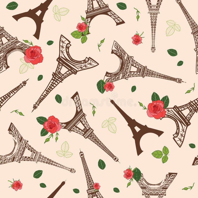 Torre París de Brown Eifel del vintage del vector y modelo inconsútil de la repetición de las flores de las rosas rodeado por roj ilustración del vector