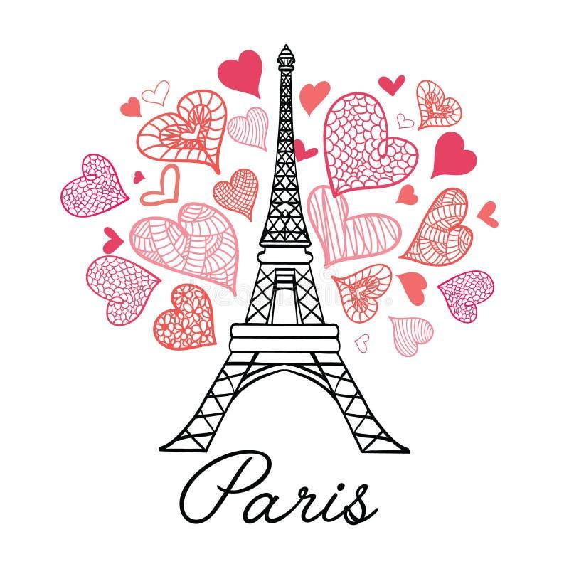 Torre París de Eifel del vector que estalla con los corazones rosados del día de tarjetas del día de San Valentín del St del amor stock de ilustración