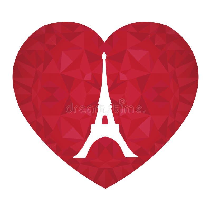 Torre Parigi di Eifel di vettore il giorno Ruby Red Heart dei biglietti di S. Valentino della st Simbolo di amore Perfezioni per  royalty illustrazione gratis