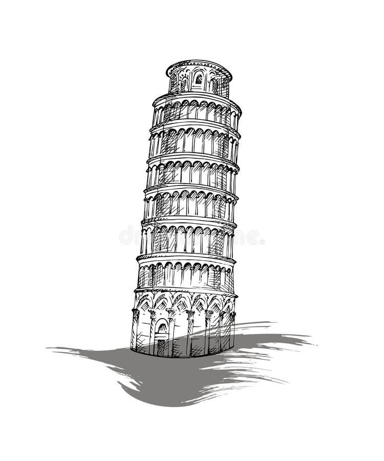 Torre pendente di Pisa, Italia illustrazione vettoriale