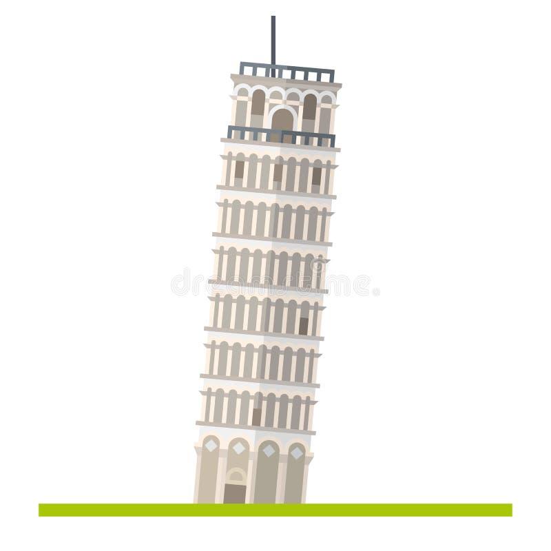 Torre pendente di Pisa, Italia, icona piana isolata illustrazione vettoriale