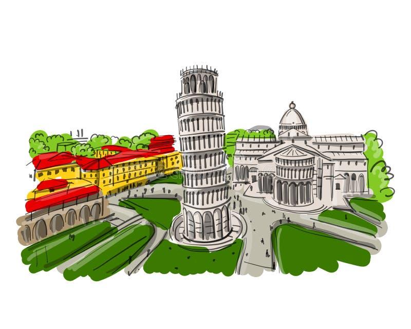 Torre pendente di Pisa, Italia Schizzo per la vostra progettazione illustrazione vettoriale
