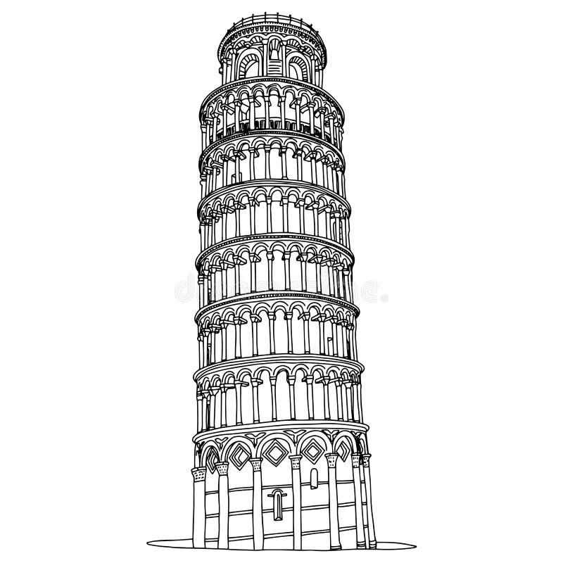 Torre pendente di Pisa nello scarabocchio di schizzo dell'illustrazione di vettore dell'Italia disegnato a mano con le linee nere illustrazione vettoriale