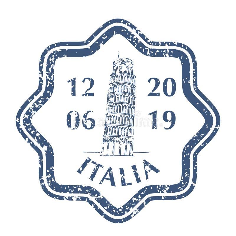 Torre pendente di Pisa sul bollo postale di lerciume illustrazione vettoriale