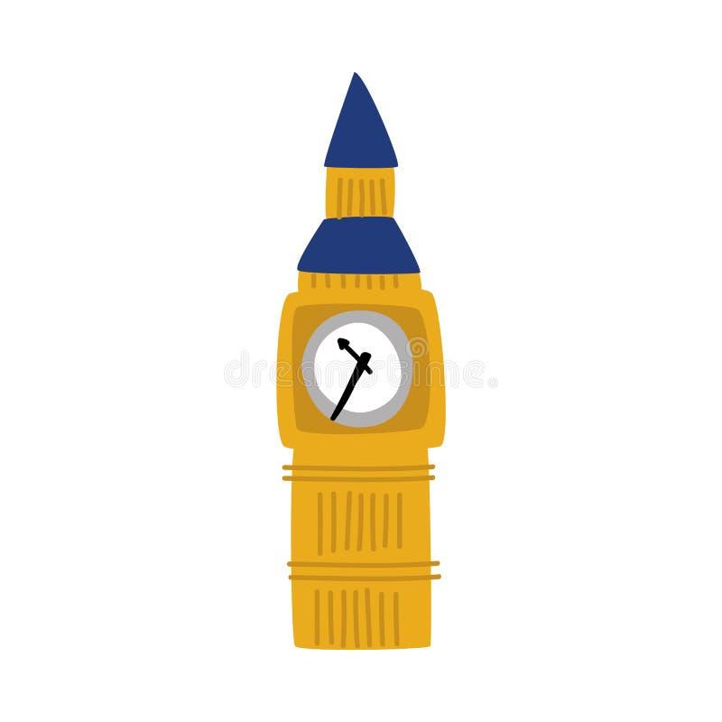 Torre piana di Big Ben di vettore dell'icona del Regno Unito illustrazione di stock