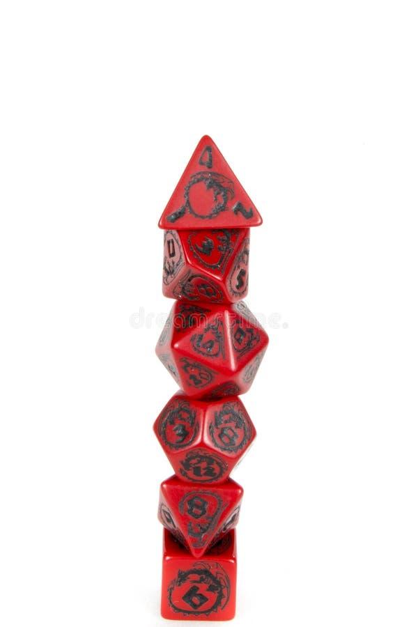 Torre poli dos dados vermelha e preta fotografia de stock royalty free