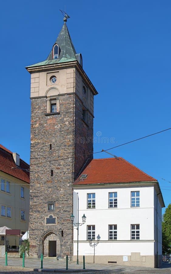 A torre preta em Plzen, República Checa fotografia de stock