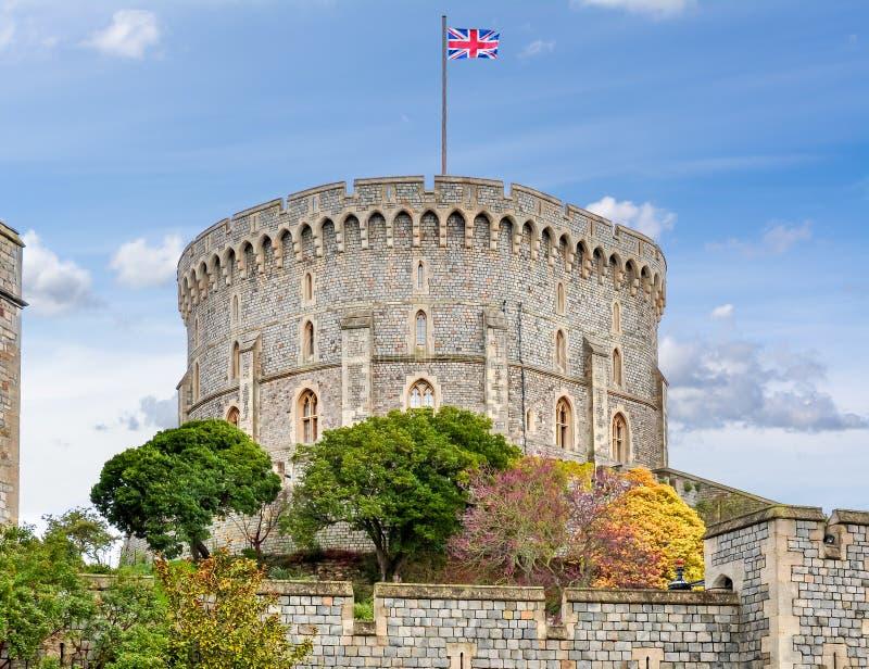 Torre redonda do castelo de Windsor, Reino Unido foto de stock royalty free