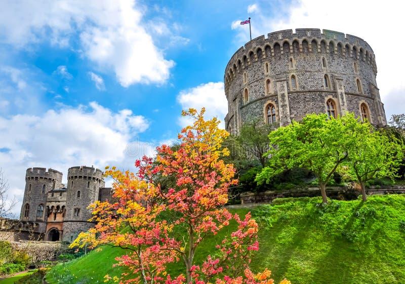 Torre rotonda di Windsor Castle, periferia di Londra, Regno Unito fotografia stock libera da diritti
