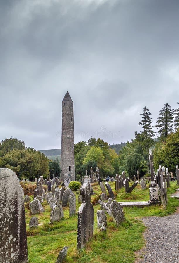 Torre rotonda, Glendalough, Irlanda fotografia stock libera da diritti