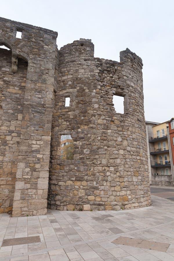 Torre rovinata dei mura di cinta di Southampton fotografie stock libere da diritti