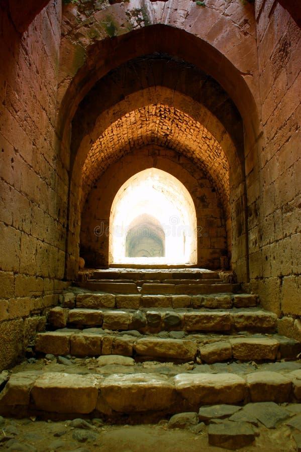 Torre Siria de la ciudadela de los Chevaliers del DES de Krak imagen de archivo