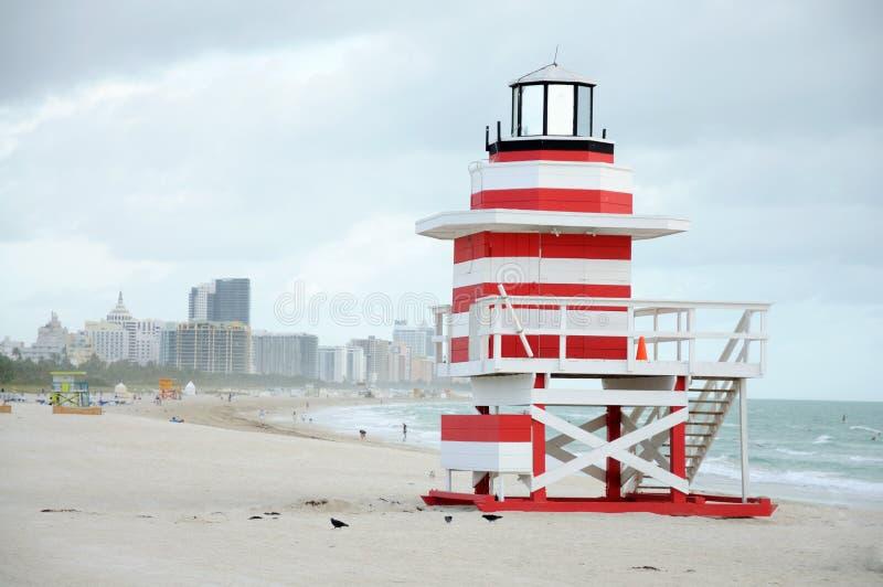 Torre sul do Lifeguard da praia de Miami foto de stock