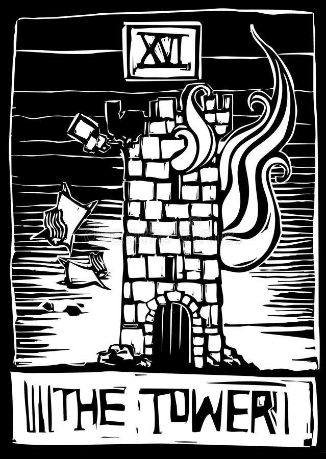 Torre Tarot stock de ilustración