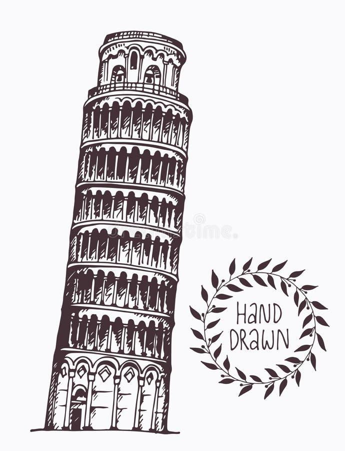 Torre tirada mão de Pisa, Itália ilustração royalty free