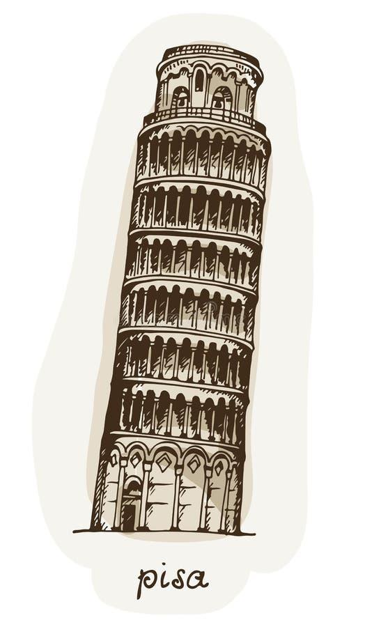 Torre tirada mão de Pisa, Itália ilustração do vetor