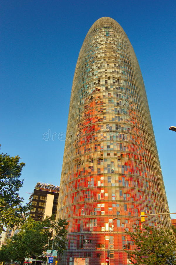 Torre (Tower) Agbar, Barcelona Spain. The Torre Agbar is a 38-story skyscraper / tower located between Avinguda Diagonal and Carrer Badajoz, near Plaça de les stock image