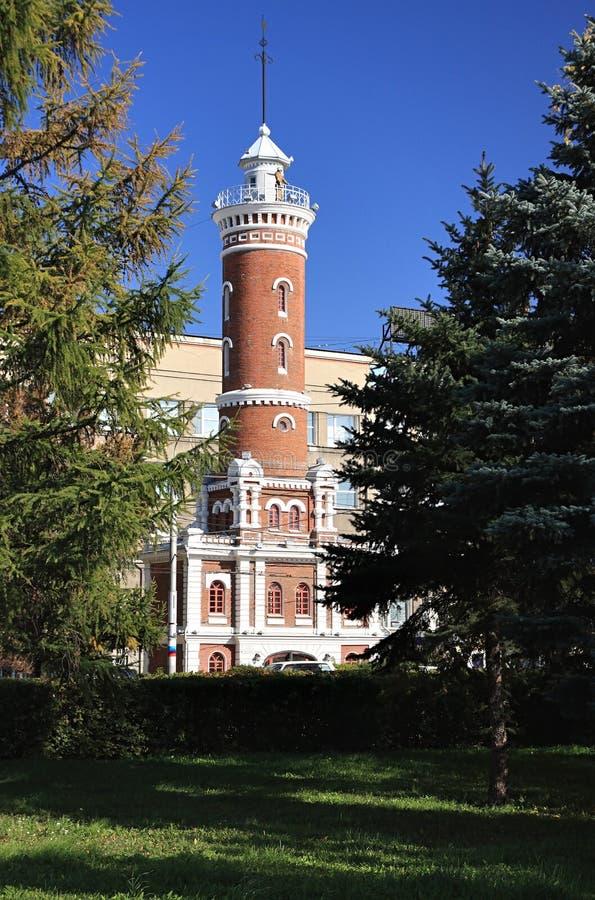 Torre velha do relógio do incêndio. imagens de stock royalty free