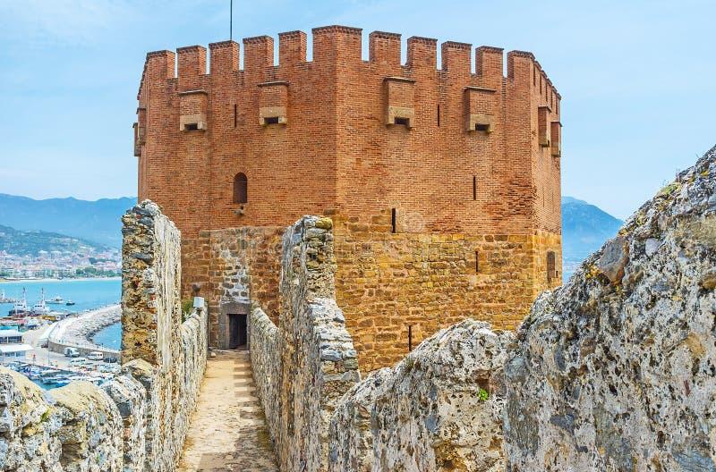 A torre vermelha de Alanya foto de stock royalty free