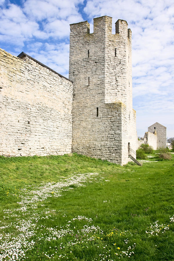 Torre de la fortaleza en Visby Suecia fotografía de archivo