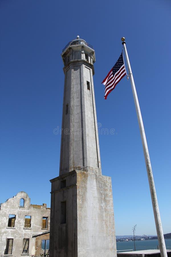 Torre en la isla de Alcatraz fotos de archivo