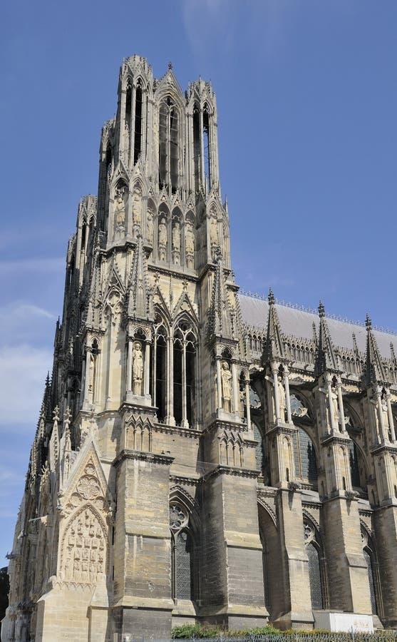 Torre y cara, Reims de la catedral fotos de archivo libres de regalías
