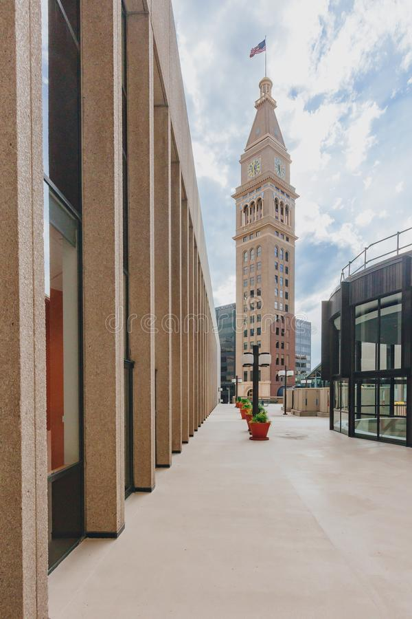 Torre y edificios históricos de reloj en Denver céntrica, los E.E.U.U. foto de archivo libre de regalías