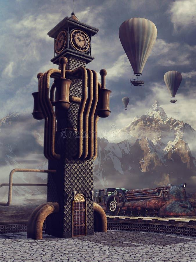 Torre y globos de reloj libre illustration
