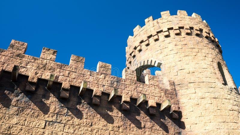 Torre y paredes medievales del castillo fotos de archivo libres de regalías