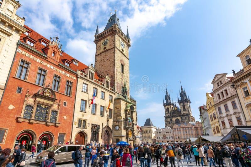 Torre y vieja plaza, Praga, República Checa de ayuntamiento fotografía de archivo