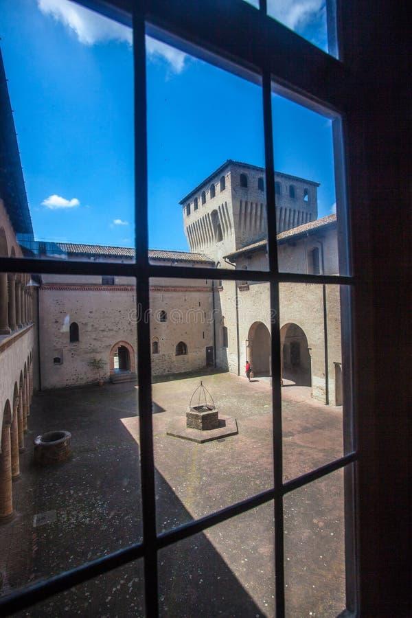 Torrechiara城堡在帕尔马省,伊米莉亚罗马甘意大利 库存图片