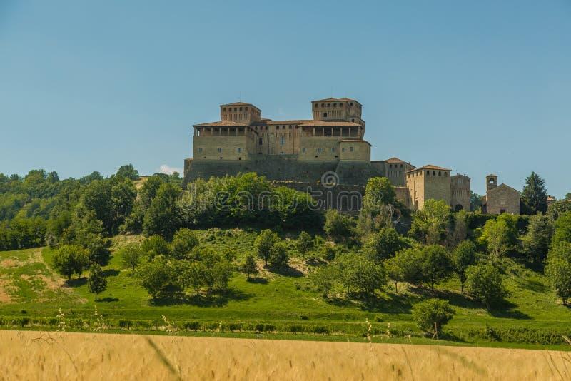Torrechiara Castle stock photography