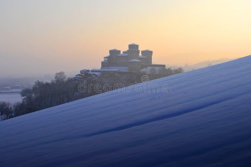 Torrechiara Castle on winter #3 royalty free stock photo