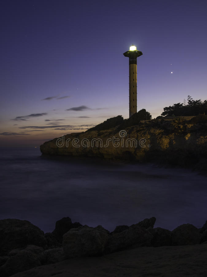 Torredembarra's Lighthouse royalty free stock photography