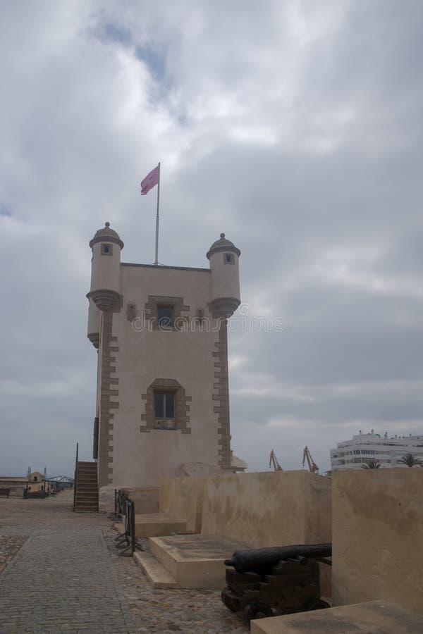 Torren De Tierra Gate in der Stadt von Cadiz, Andalusien lizenzfreies stockbild