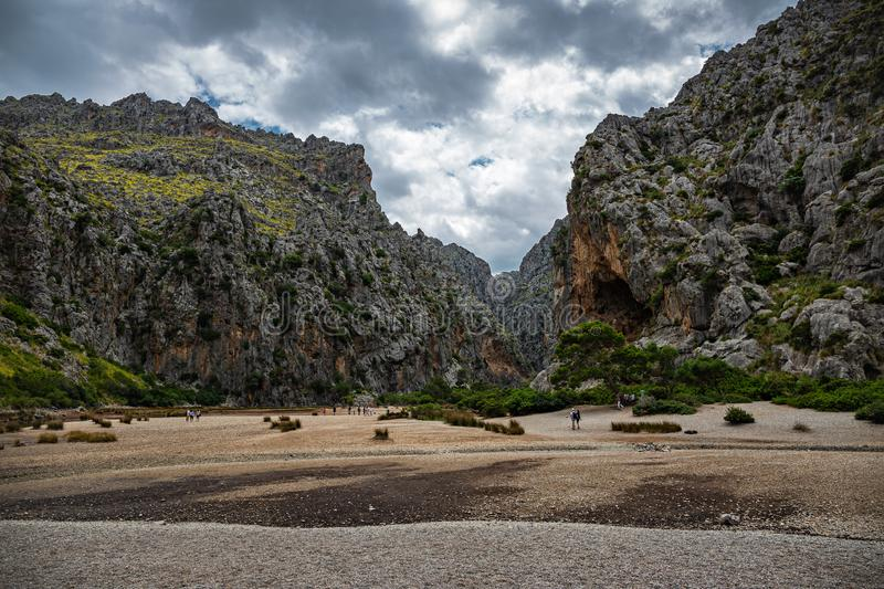 Torrent DE Pareis, Canyon DE La Calobra in het Eiland Mallorca royalty-vrije stock fotografie