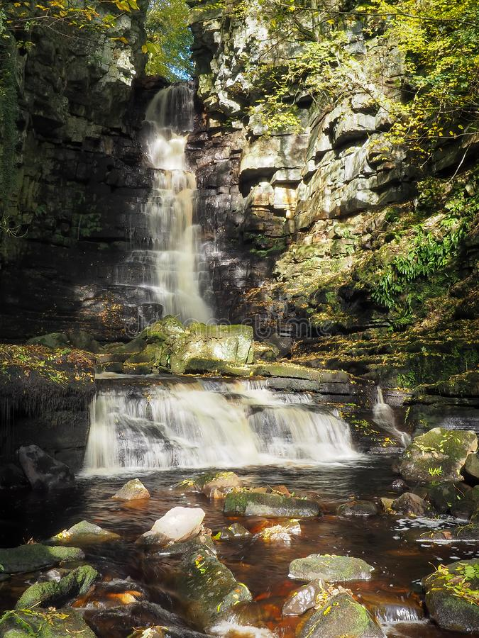Torrent of water cascading over Mill Gill Force waterfall in the woods, Askrigg, Yorkshire Dales royalty free stock photography