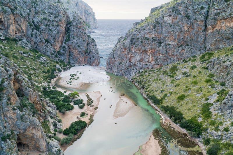 Torrente de Pareis, ilha de Mallorca, Espanha imagens de stock