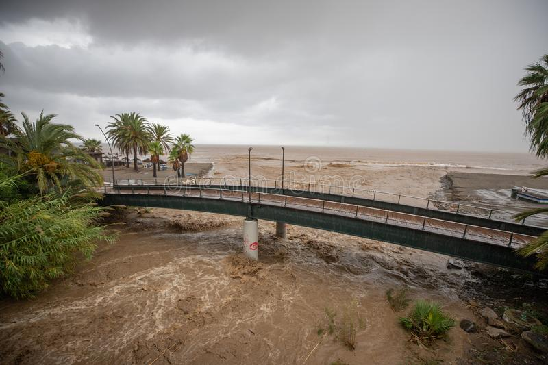 Storms and Flooding in Estepona. Torrential rain and storms on the Costa del Sol in Spain result in massive flooding with damage to property and infrastructure stock images