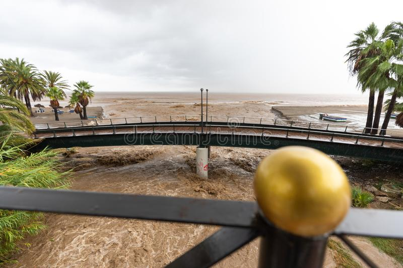 Storms and Flooding in Estepona. Torrential rain and storms on the Costa del Sol in Spain result in massive flooding with damage to property and infrastructure stock image