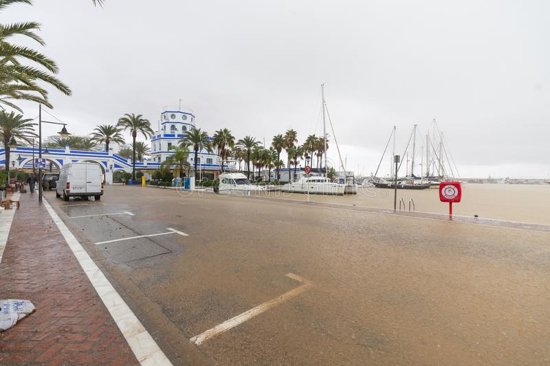 Storms and Flooding in Estepona. Torrential rain and storms on the Costa del Sol in Spain result in massive flooding with damage to property and infrastructure royalty free stock image
