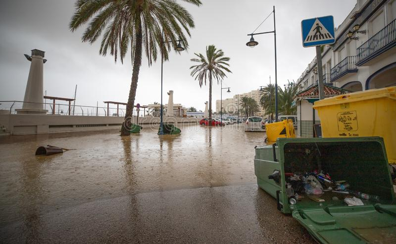 Storms and Flooding in Estepona. Torrential rain and storms on the Costa del Sol in Spain result in massive flooding with damage to property and infrastructure stock photo